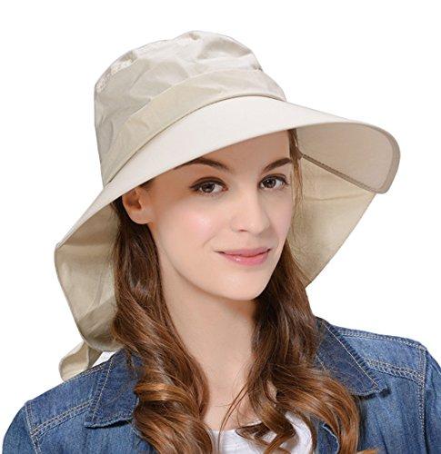 Kuyou Damen Outdoor Sommer Kappe Sonnenhut Strandhut Anti-UV-Hut (Beige)