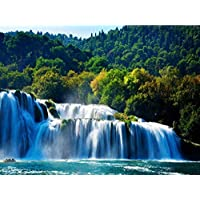 5D DIY Diamond Painting Landscape Full Square Drill Waterfall Picture of Rhinestone Home Decor Mosaic Diamond Embroidery30 × 40Cm /15 × 11In