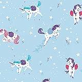 Stoff Baumwollstoff Patchwork Quilt Unicorn Kisses - Unicorn Tossed Allover hellblau - Stoff zum Nähen - Meterware - 50cm x 112cm