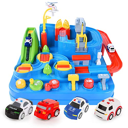 Car Track Toys Assembly Adventure with 9 Levels, Skill Development Toy Playset Helps Develop Kids Brain and Hands-on Ability(No Battery Required)4cars -