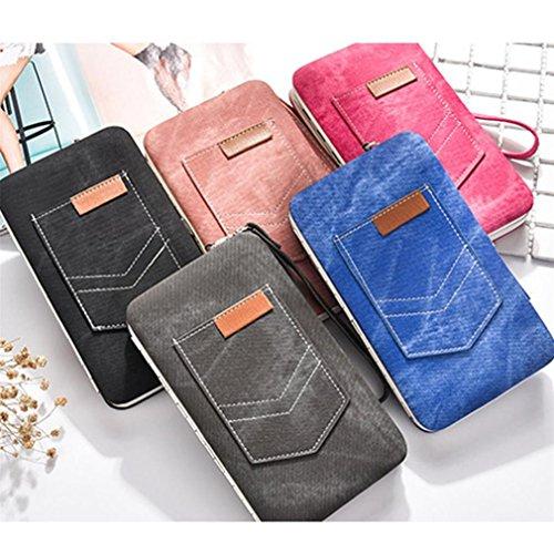 Portafoglio Donna Moda Borsa in Pelle per Carte di Credito , Smartphone blu