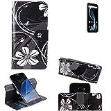 K-S-Trade Schutzhülle für Allview X4 Soul Infinity Plus Hülle 360° Wallet Case Schutz Hülle ''Flowers'' Smartphone Flip Cover Flipstyle Tasche Handyhülle schwarz-weiß 1x