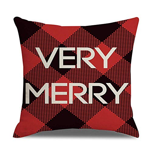 OPoplizg Deer Black Red Christmas Cushion Cover Double-Sided Thick Cotton Pillowcase 45cm x 45cm(18 x 18inch)
