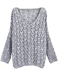 YOUJIA Femmes Oversize Col en V Hollow Out Baggy Tricot Chandail Manche longue Top Sweater Pull en Tricot