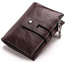 AOLVO - Cartera de piel de vaca para hombre con bolsillo doble con cremallera marrón oscuro