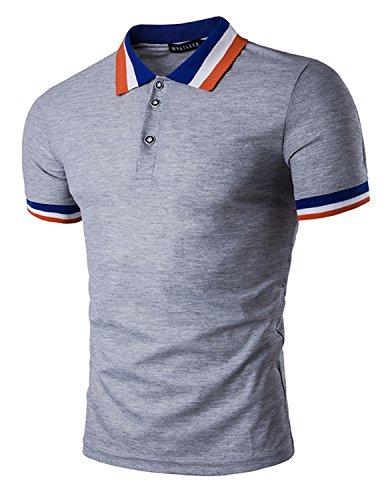 LIANIHK Mode Polo Herren Kontrastfarben Kurzarm Stehkragen Poloshirt M - XXL Grau