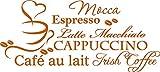 GRAZDesign 620072_57_083 Wandtattoo Kaffee Sorten mit Tasse für Küche | Wandsticker aus Markenfolie - für Esszimmer | Küchen-Sprüche für Küchenwände (126x57cm // 083 haselnussbraun)