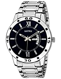 Matrix Silvermine Analog Black Dial Wrist Watch With Day And Date Display For Men And Boys- DD7-BK-ST
