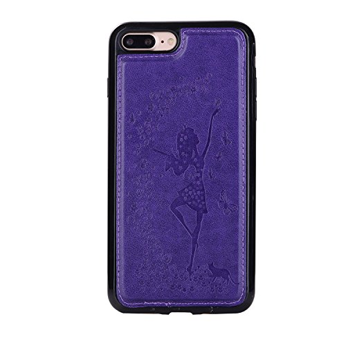 Cover in Pelle Custodia per iPhone 7 Plus / 8 Plus,Aearl [Pellicole Protettive Display] Flip Cover Magnetico Snap-on Bookstyle Silicone TPU Custodie Case per iPhone 8 Plus / 7 Plus,Farfalla Viola Viola