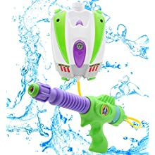 Disney Toy Story Buzz Lightyear Water Blaster Backpack | Large Capacity Portable Water Pistol With Adjustable Straps | Kids Outdoor Toy Water Gun From Age 3+