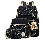 Zaino Casual Scuola Set 3pcs Daypacks Canvas Backpack Tela Zaini Ragazza Donna+ Messenger Bag + Purse