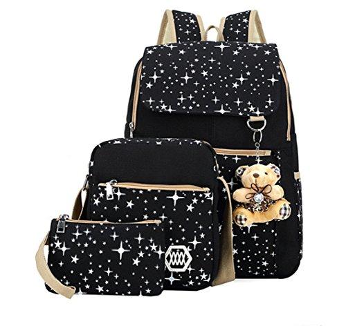Girls Lightweight Canvas Casual Daypack School Backpack + Shoulder Bag + Pencil Case Girls School Backpack Set 3 Pcs