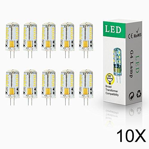ELINKUME 10er-Pack 4Watt G4 LED Leuchte 57 SMD 3014 LED Lampe leuchtmittel Kaltweiß,AC/DC12V