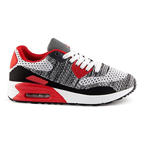 FiveSix Herren Damen Sneaker Sportschuhe Laufschuhe Freizeitschuhe Dämpfung Strick Schnürschuhe Low-Top Unisex Schuhe Weiss/Rot/Schwarz-W