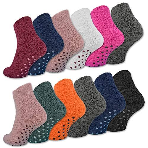 sockenkauf24 6 oder 12 Paar ABS Kuschelsocken mit Anti Rutsch Sohle Damen Kuschel Socken - 37423 (35-42, 6 Paar | Farbmix)
