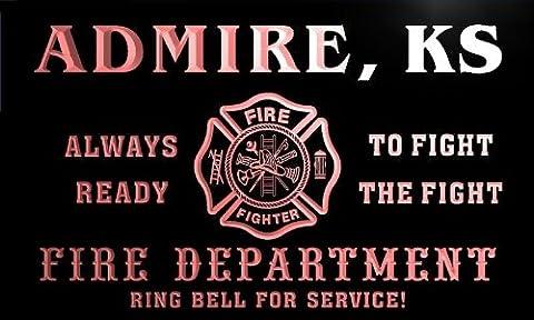 qy55996-r FIRE DEPT ADMIRE, KS KANSAS Firefighter Neon Sign