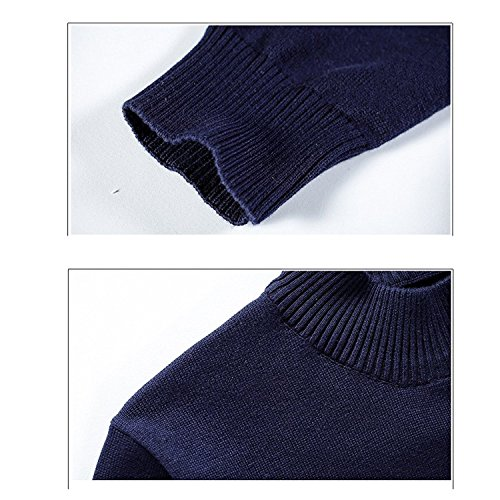 Zhuhaitf Fashion Mens Long Sleeve Sweater Tops Crew-neck Solid Color Sweater Blue