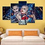 BOYH Selbstmordkommando Joker mit Harley Quinn 5 Stück Wall Art Poster HD Drucke Home Decor Wall Art Leinwand Dekoration Poster,A,30×50×2+30×70×2+30×80×1