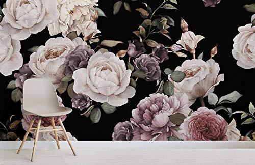 Rose Floral Wallpaper (3D-Anpassung Floral Wallpaper Rose Wallpaper Lila und Pink Dark Floral Fototapete)
