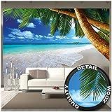 GREAT ART Foto Mural de Playa y Palmas Tapiz de Paraíso Caribe Póster Isla Trópical Cielo azul Verano (336x238cm)