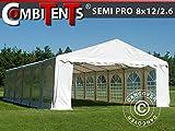 Tendone Gazebo per Feste, Semi PRO Plus CombiTents 8x12 (2,6) m 4 in 1, Bianco
