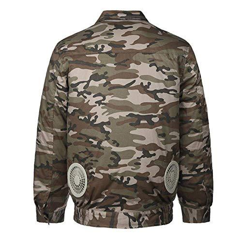 APENCHREN Männer Kühlgebläse Jacke/Klimaanlage Kleidung, Arbeitskleidung mit - für Hochtemperatur Outdoor Arbeiten Sommer Angeln Reisen Camping und Fahrrad,Camouflage-S