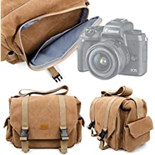 Sac en toile pour Canon EOS M5 / EOS 5D Mark IV, Hasselblad X1D, Leica Sofort, Olympus E-M1 II & E-PL8 appareils photos et leurs accessoires - couleur sable - DURAGADGET