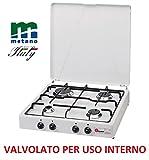 Gaskocher sicherheitsöffnungsventil Parker A GAS Methan (Gas-Citta ') mit 4flammig Farbe Weiß und Schwarz–für Verwendung Innen -