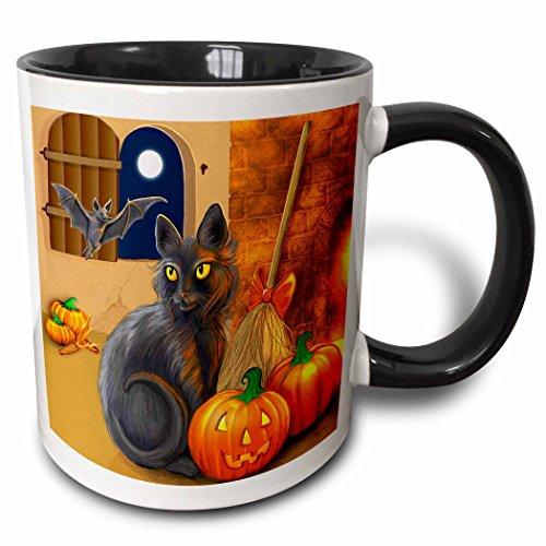 3drose die Witchs Katze sitzt near a C Ozy Kamin Entertaining Sie Batty Freund auf Halloween Nacht zweifarbig schwarz Tasse, 11Oz, schwarz/weiß