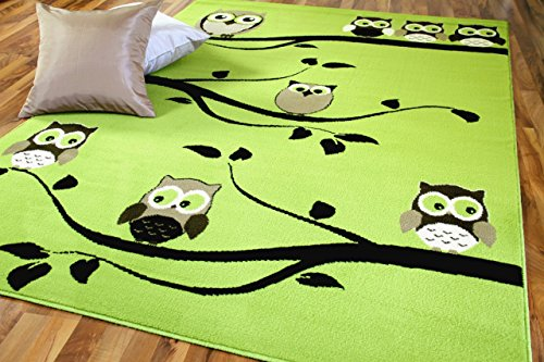 TrendLine Kinderteppich Eulen Grün Türkis Braun in 4 Größen - Grün Und Braun-teppiche