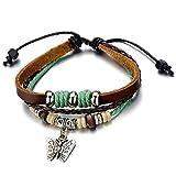 COOLSTEELANDBEYOND Schmetterling Leder-Armband für Damen Mädchen Braune Echtes Leder Wickeln Schweißband