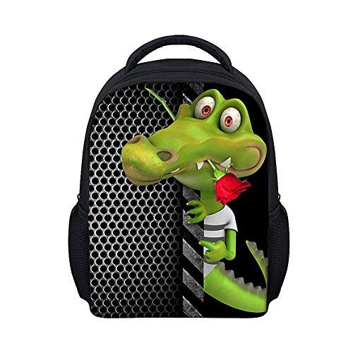 Moolecole Unisex 3D Tiere Print Daypack Kinderrucksack Kinderrucksack Kleinkind-Jungen-Mädchen-Kinderzimmer-Schule-Beutel-Krokodil (Personalisierte Koffer)