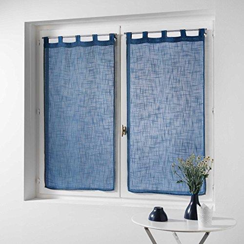 Douceur d' interno coppia destra passanti effetto lino tisse haltona, poliestere, blu, 120x 60cm