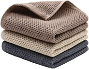 Mia'sDream Natural Cotton Tidy Dish Cloths Rags Waffle Weave Kitchen Towels, Soft and Absorbent Hand Towel