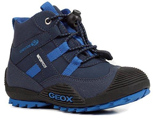 Geox J847GA Atreus WPF Jungen Stiefel, Übergangsschuh, Wasserdicht, Fleece Fütterung, Atmungsaktiv, Wechselfußbett Blau (Navy/Sky), EU 26