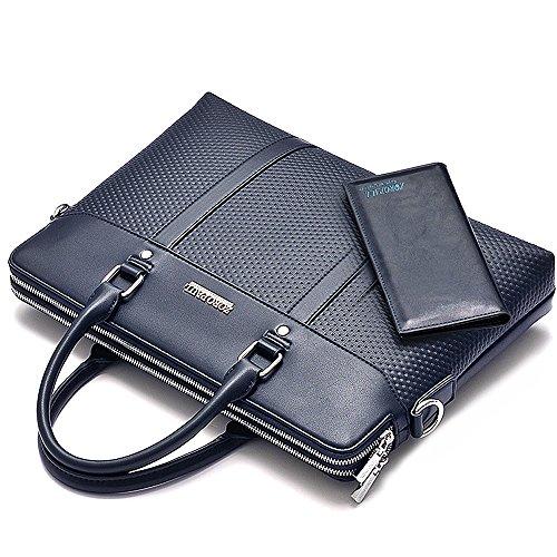 Regenbogen prägen dünne Aktenkoffer Mens Business PU Ledertasche Flapover Satchel Executive Law Aktenkoffer Handtasche mit Brieftasche Blue