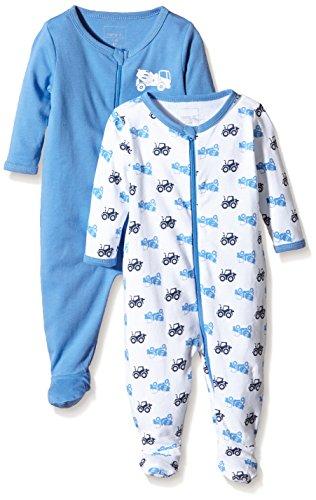 NAME IT Baby-Jungen NITNIGHTSUIT ZIP W/F NB B NOOS Schlafstrampler, Mehrfarbig (Regatta), 56 (2er Pack)