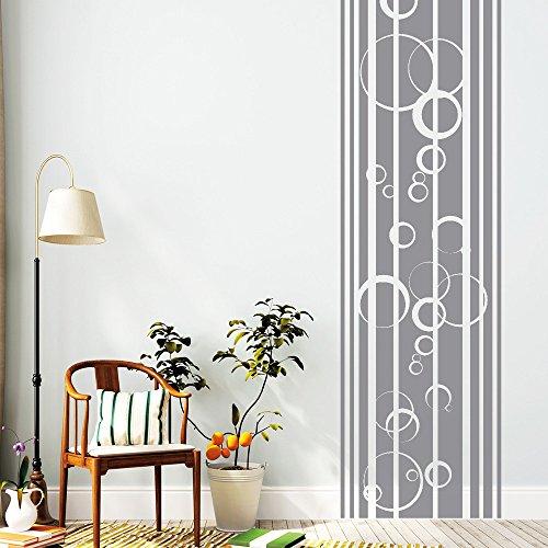 """Wandtattoo Loft """"Streifen Bordüre mit Blubber Blasen"""" - Wandtattoo / 54 Farben / 4 Größen / transparent / 120 cm lang x 34 cm breit"""