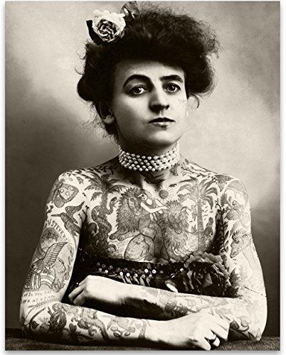 Lone Star Art Tattooed Lady Portrait-11x 14ungerahmt-Tolles Tattoo Shop Decor und Geschenk für Tattoo Künstler (Tattoo-liner-rohre)