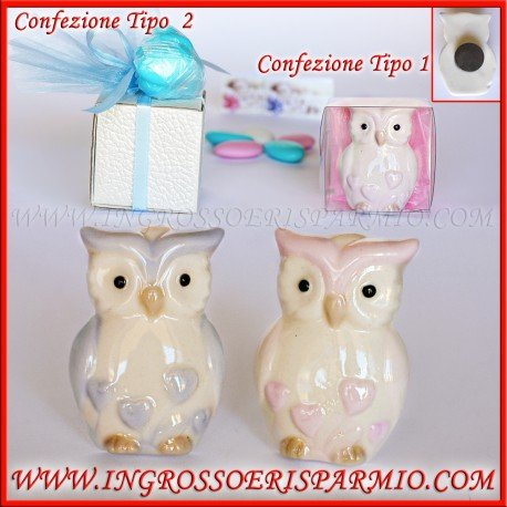 Owl Shaped Ceramic Figures with Magnet and details Shaped Coloured