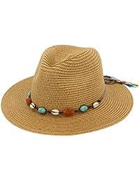 Petalum Women Summer Sun Beach Straw Hat Foldable Wide Brim Adjustable  UPF50+ Floppy Cap ba3932dd9cb7