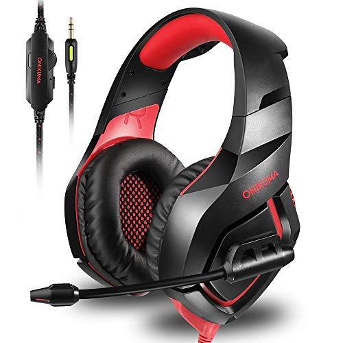 Docooler ONIKUMA K1 Gaming Over-Ear-Headset 3,5-mm-Stereo-on-Ear-Kopfhörer mit einziehbarem Mikrofon Lautstärkeregelung Noise Cancelling für Laptop-Desktop-PC-Spieler