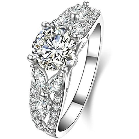 (Personalizzati Anelli)Adisaer Anelli Donna Argento 925 Anello Fidanzamento Incisione Gratuita Rotondo Singola Anello Diamante Foglia