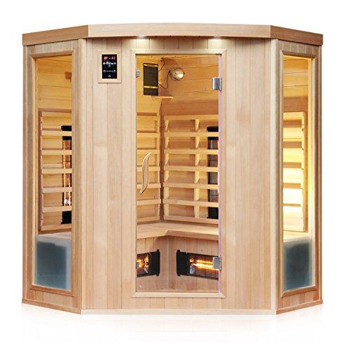 TroniTechnik Infrarotsauna 4 Personen Infrarotkabine Sauna Vollspektrumstrahler 160cm x 160cm x 190cm