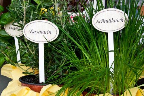 """Einzelne Gartenstecker, z.B. """"Estragon"""" für Kräuter / Gemüse / Gartenfrüchte im Vintage-Look, Höhe 20 cm, Metall"""