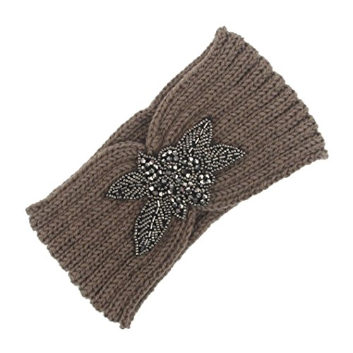 BZLine® Frauen stricken Strick Stirnband Winter Warm Haarband Wrap Pink (Khaki)
