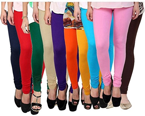 Krystle Women\'s Cotton Leggings (Combo of 10) (Black,White,Pink,Beige,Red ,Navy Blue,yellow, sky blue, Coffee &Purple)