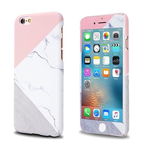 2 Stück iPhone 5 5S SE Hülle, LCHULLE Slim-Fit Anti-Kratzer PC Hart Granit Marmor Naturstein und Stoßdämpfend Kontrast Geo Farbe Starre Textur Zurück Fall Deckung zum iPhone 5 Cover/iPhone 5s Handy Tasche/iPhone se Schutzhülle-Farbe Rosa (Pink Screen Protector 5s)
