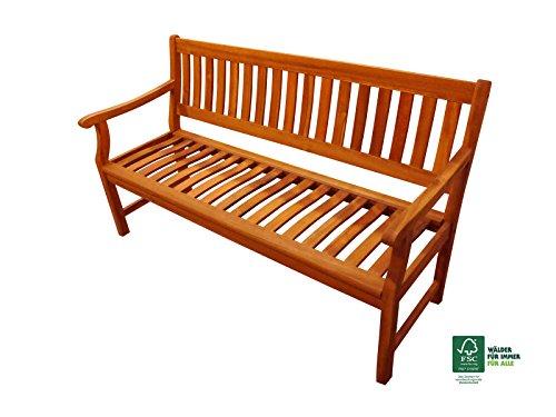 SAM Akazie-Sitzbank New Jersey, massive Gartenbank für bis zu 3 Personen, Holzbank mit Armlehnen ideal für Garten Terrasse Balkon und Wintergarten, FSC 100% zertifiziert