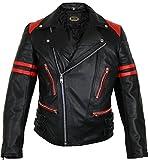 MDM Retro Motorrad Lederjacke 80´s Oldschool in verschieden Farben erhältlich (L, schwarz/rot)